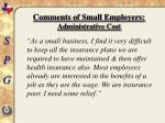 comments of small employers administrative cost