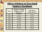 effects of reform on texas small employer enrollment