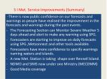 s i met service improvements summary