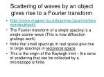 scattering of waves by an object gives rise to a fourier transform