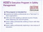 asse s executive program in safety management