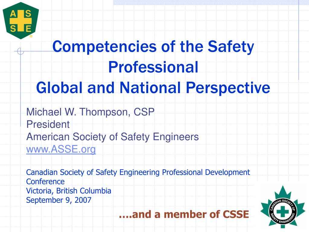 competencies of the safety professional global and national perspective l.