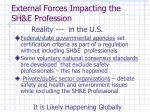 external forces impacting the sh e profession