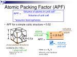 atomic packing factor apf