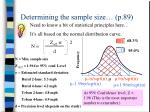 determining the sample size p 89