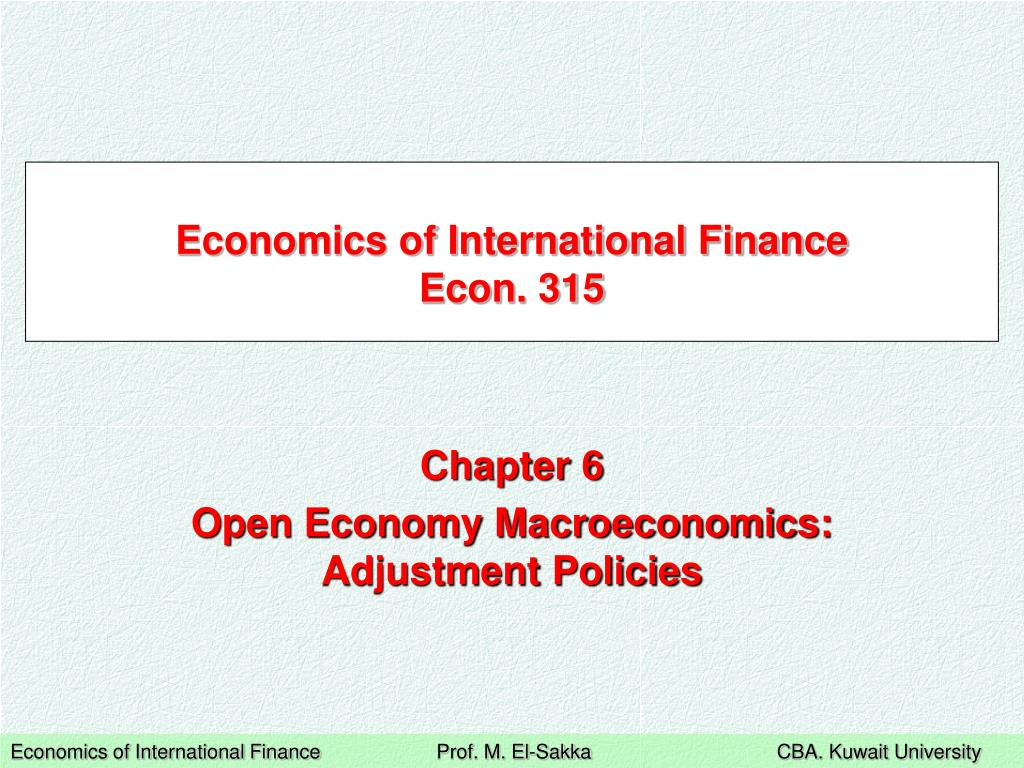 economics of international finance econ 315 l.