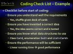 coding check list example