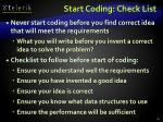 start coding check list