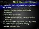 think about the efficiency