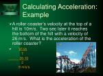 calculating acceleration example
