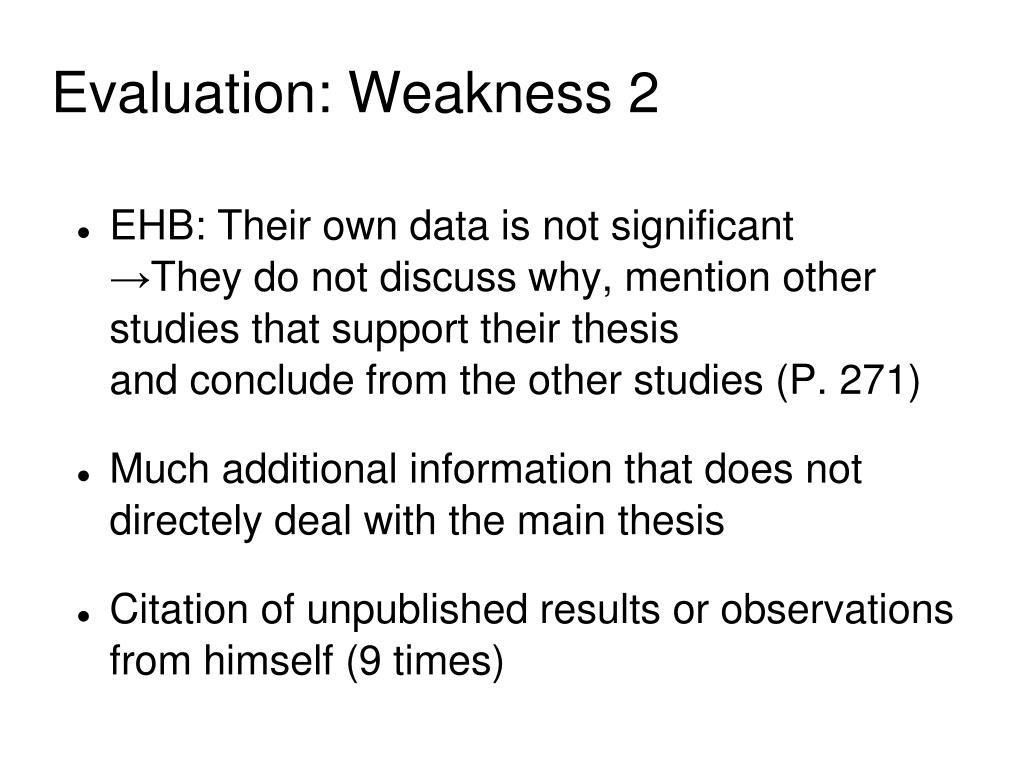 Evaluation: Weakness 2
