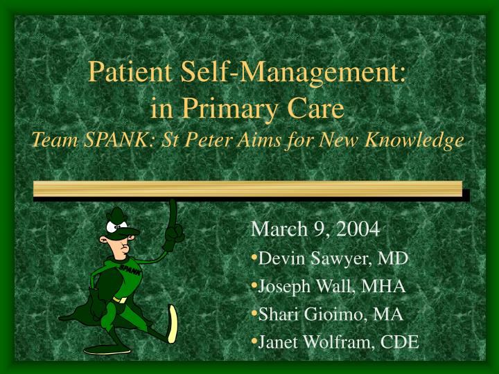 Patient self management in primary care team spank st peter aims for new knowledge
