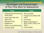 advantages and disadvantages of part time work for adolescents