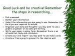 good luck and be creative remember the steps in researching