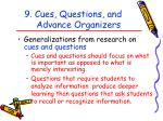 9 cues questions and advance organizers