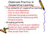 classroom practice in cooperative learning