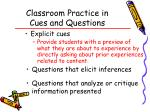 classroom practice in cues and questions