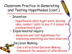 classroom practice in generating and testing hypotheses cont