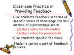 classroom practice in providing feedback