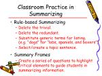 classroom practice in summarizing