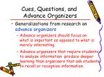 cues questions and advance organizers57
