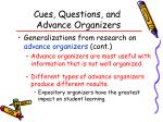 cues questions and advance organizers58