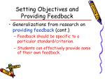 setting objectives and providing feedback44
