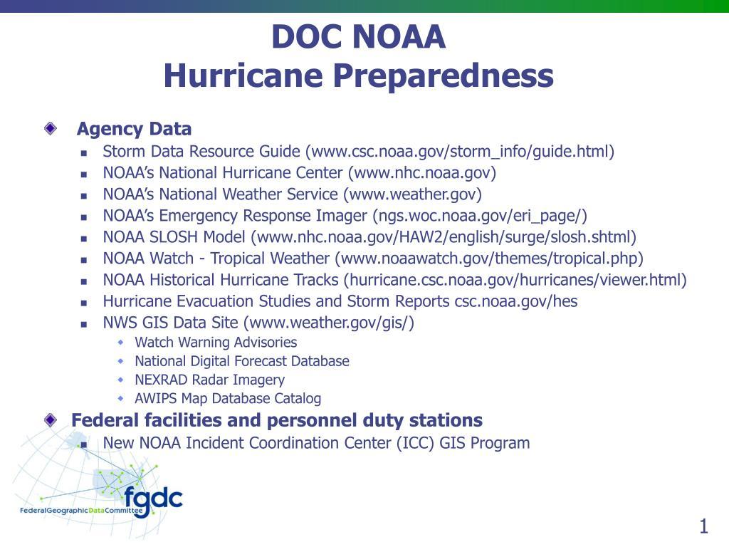 doc noaa hurricane preparedness l.
