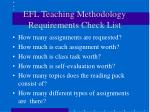 efl teaching methodology requirements check list