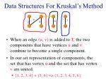data structures for kruskal s method20