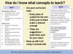 how do i know what concepts to teach