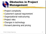 obstacles in project management