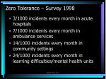 zero tolerance survey 1998