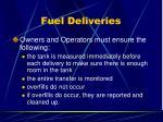 fuel deliveries
