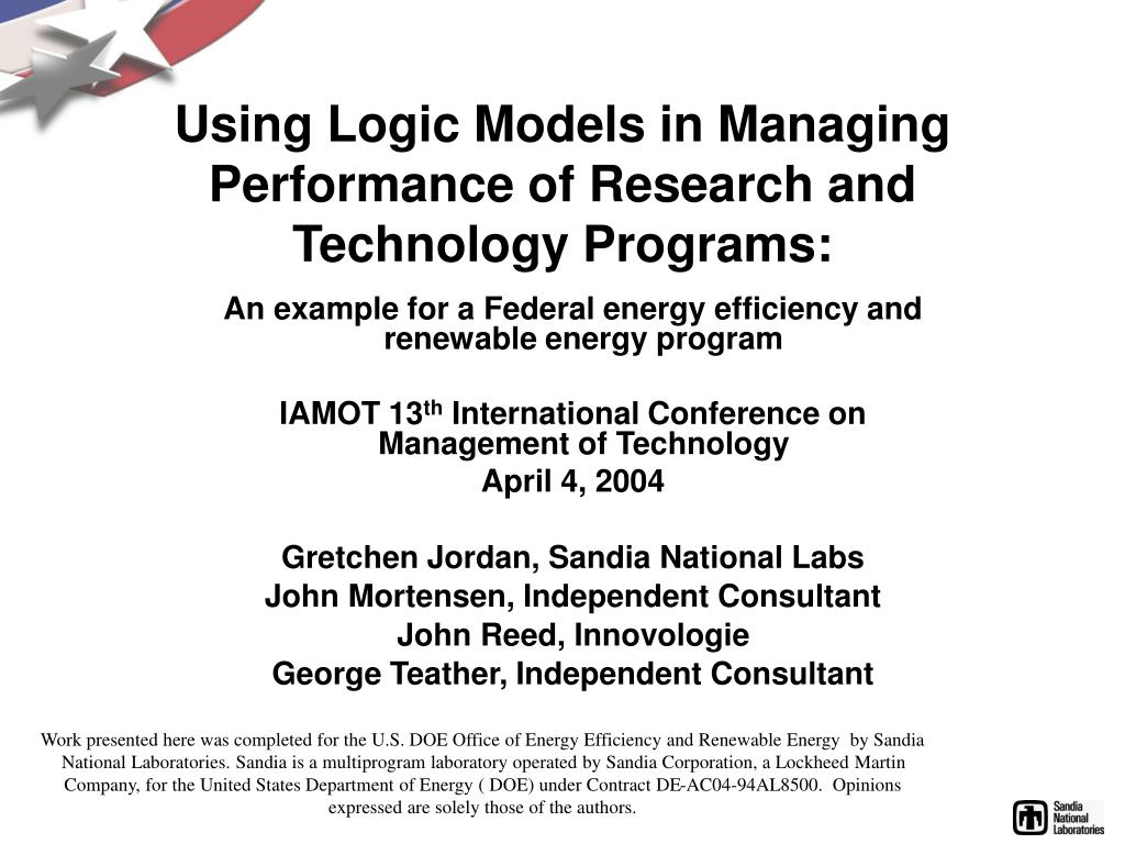 using logic models in managing performance of research and technology programs l.
