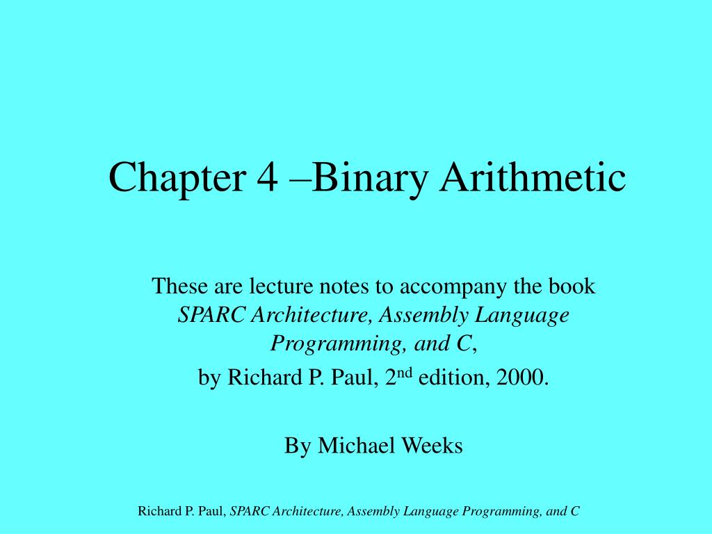 chapter 4 binary arithmetic l.