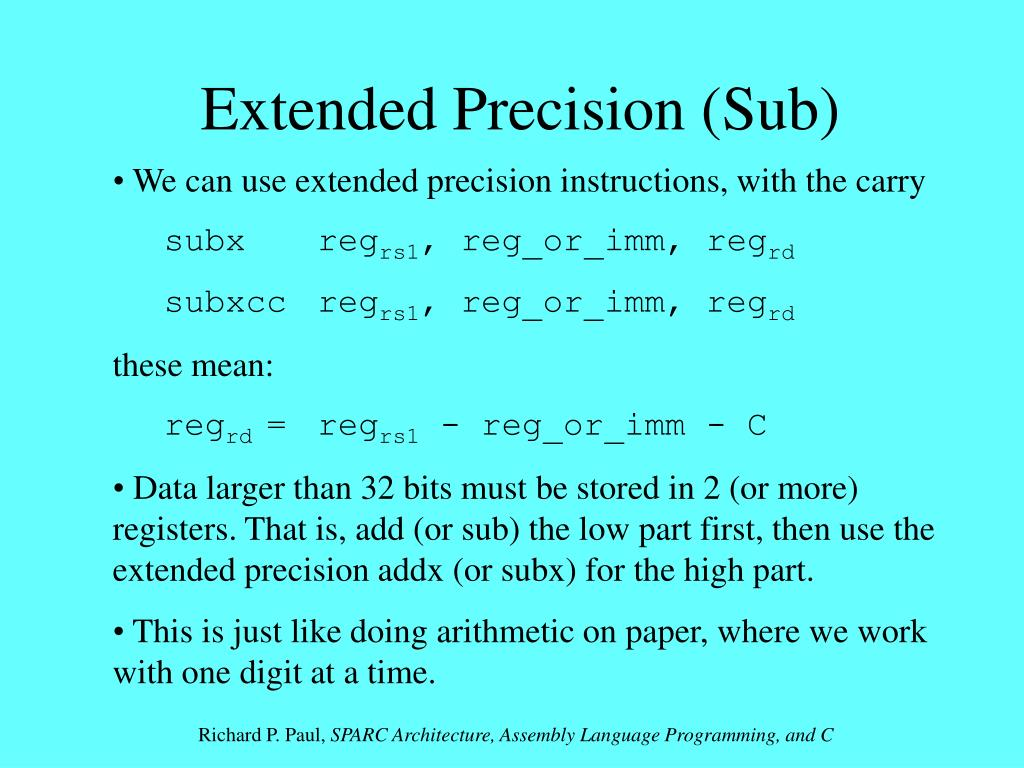 Extended Precision (Sub)