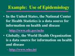example use of epidemiology