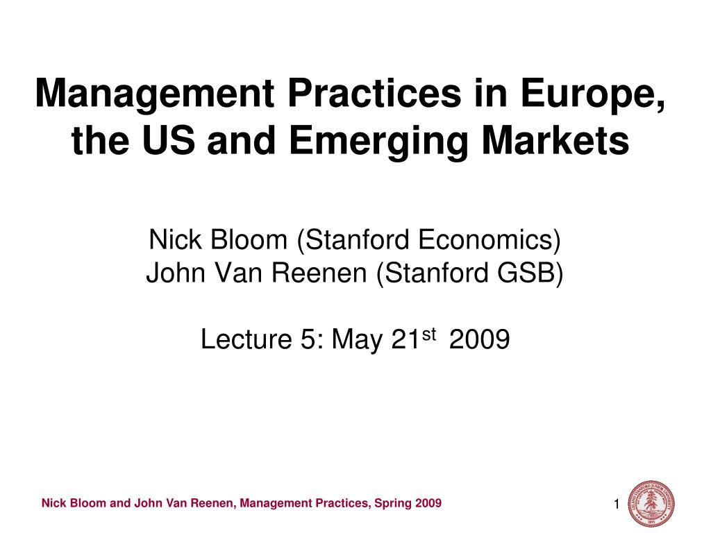 management practices in europe the us and emerging markets l.