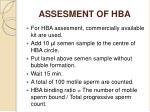 assesment of hba