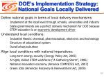 doe s implementation strategy national goals locally delivered