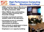 high performance computing class morehouse college