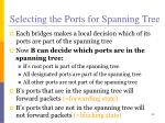 selecting the ports for spanning tree