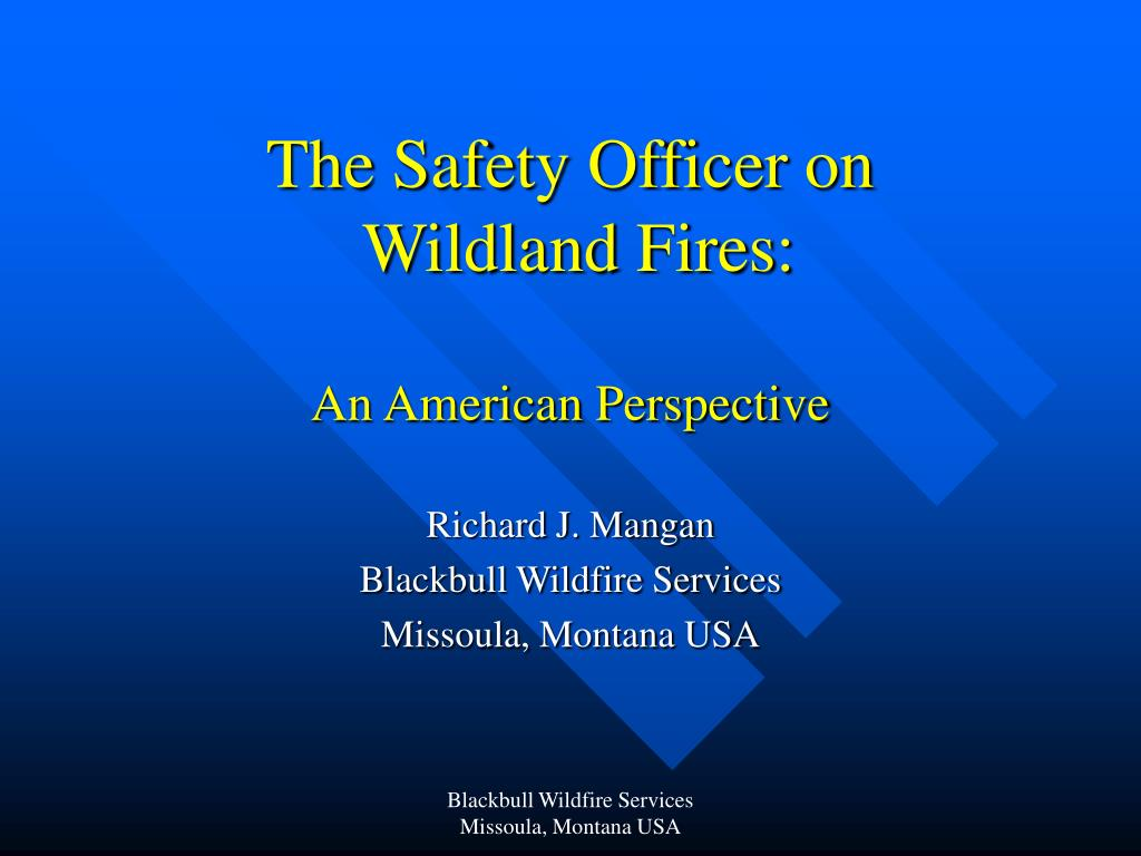 the safety officer on wildland fires an american perspective l.