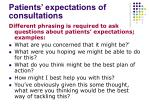 patients expectations of consultations
