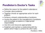pendleton s doctor s tasks