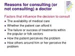 reasons for consulting or not consulting a doctor
