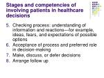 stages and competencies of involving patients in healthcare decisions30