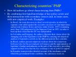 characterizing countries pmp