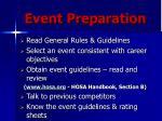 event preparation